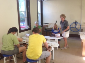 "Mary Ashe-Mahr teaching ""Introduction to Ceramics Studio"" class"
