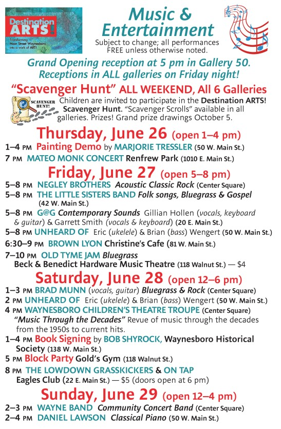 DA Music Schedule June 27 - 29, 2014