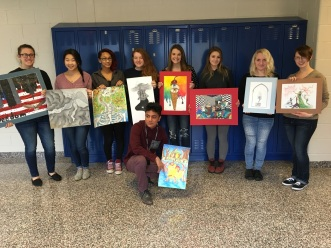 WASHS Art Students (left to right) - Megan Rowe, Jenny Song, Dani Crawford, Sydney Case, Amanda Baginski, Emi Driscoll, Maddie Devlin, Juliana Spada - Nick Stouffer (floor)